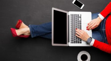 woman in red heels working on laptop   How to Be More Productive Using 7 Simple Tools