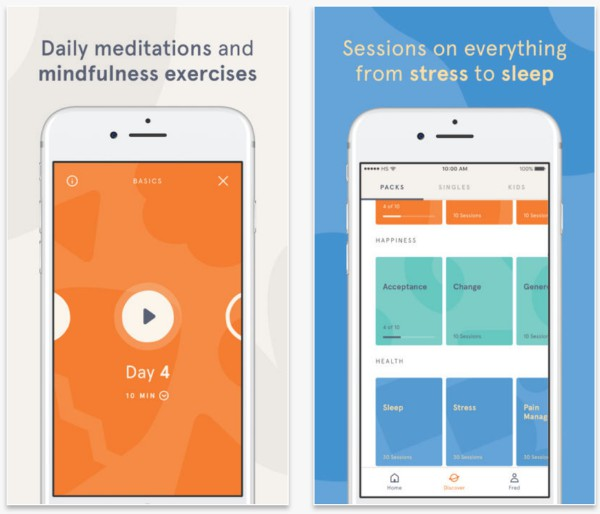 headspace app screenshots | The Best Meditation Apps to Finally Destress in 2018 https://positiveroutines.com/best-meditation-apps-new-year/