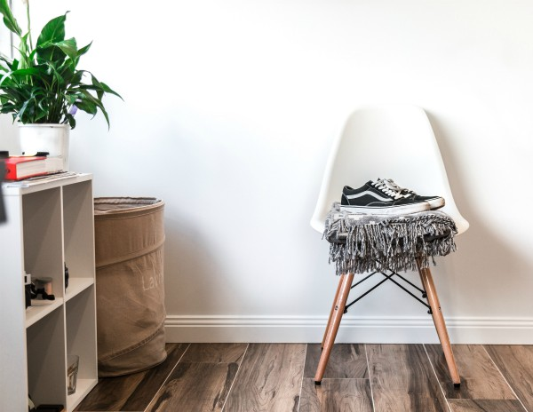 sneakers on chair in minimalist room | Here's How to Find Motivation: Don't. Try This Instead. http://www.positiveroutines.com/how-to-find-motivation