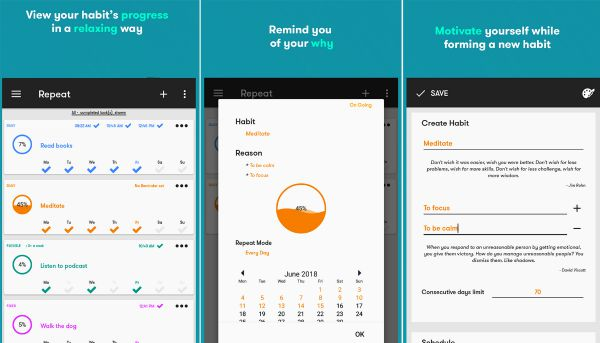 10 habit apps Repeat screenshots | The 11 Best Habit Apps for Android to Make Change Last https://positiveroutines.com/habit-apps-android/