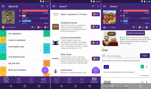 5 habit apps Habitica screenshots | The 11 Best Habit Apps for Android to Make Change Last https://positiveroutines.com/habit-apps-android/