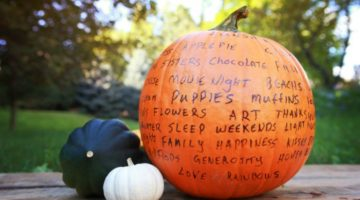 pumpkin with things people are grateful for written on it | Readers Share: What Are You Grateful For Today? https://positiveroutines.com/things-to-be-grateful-for/