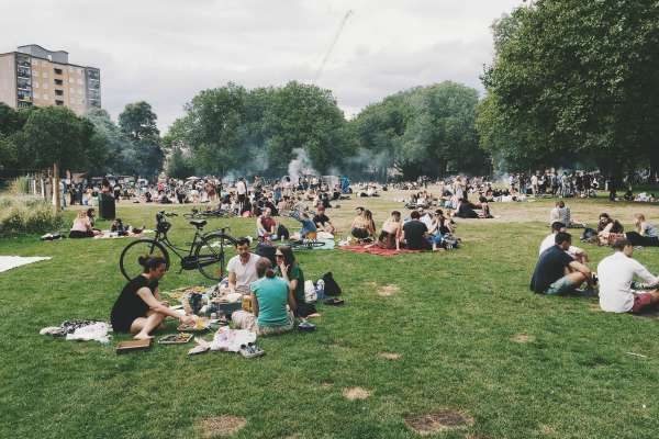many groups picnicking in public-park | Why is Nature Important to Happiness  https://positiveroutines.com/why-is-nature-important-happiness/